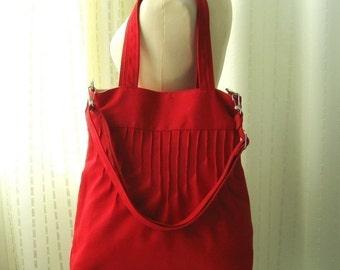 Sale - Red Canvas Bags - Shoulder bag, Diaper bag, Messenger bag, Tote, Travel bag, Women - Irene