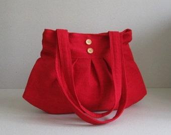 Sale - Bright Red Hemp/Cotton Purse - Shoulder bag, Diaper bag, Messenger bag, Tote, Travel bag, Women