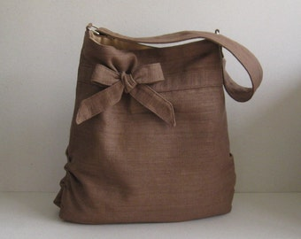 Sale - Brown Hemp/Cotton Tote, shoulder bag, handbag, purse, everyday bag - DESSERT