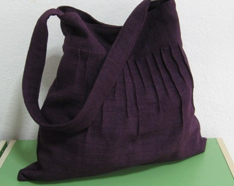 Sale - Deep Purple Lines Hemp/Cotton Bag - Shoulder bag, Messenger bag, Handbag, Tote, Travel bag, Women