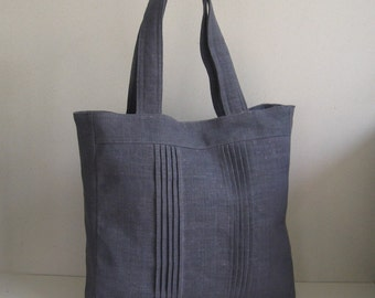 Sale - Grey Hemp/Cotton Carry-All Tote,Travel Bag, Laptop Bag, Diaper Bag - SIMPLICITY