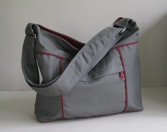 Sale - Grey Canvas Bag - Shoulder bag, Diaper bag, Messenger bag, Tote, Travel bag, Women, Unisex - KIRA