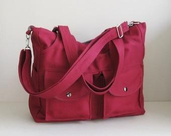 Sale - Maroon Canvas All purpose Bag - 3 Compartments - Shoulder bag, Diaper bag, Messenger bag, Tote, Travel bag