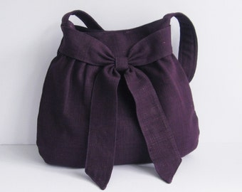 Sale - Deep Purple Hemp/Cotton Purse - Shoulder Bag, tote, stylish, bow, unique - AMY