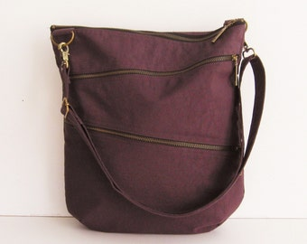 Sale - Water-Resistant Nylon Bag in Deep Plum - Shoulder bag, Crossbody bag, Messenger bag, Tote, Travel bag, Unisex - ENYA