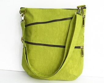 Sale - Water-Resistant Messenger Bag in Apple Green, tote, cross body bag, shoulder bag, purse - Enya