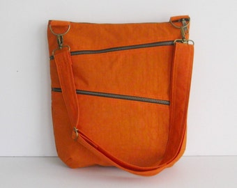 Sale - Orange Water Resistant Nylon Bag - Shoulder bag, Diaper bag, Messenger bag, Tote, Travel Bag - ENYA