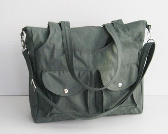 Sale - Grey Water-Resistant Bag - 3 Compartments, messenger bag, tote, diaper, shoulder bag, all purpose