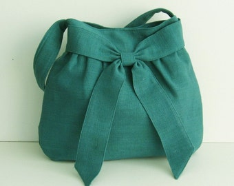 Sale - Teal Hemp/Cotton Bag, tote, purse, messenger, shoulder bag, handbag, work, everyday bag, bow, hemp - AMY