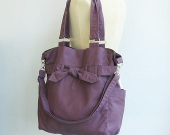 Sale - Plum Canvas Purse, tote, shoulder bag, diaper bag, crossbody bag, messenger bag, purse, novelty - Abby