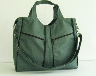 Sale - Water-Resistant Bag in Grey, diaper, messenger, crossbody, handbag, tote, gym bag, practical - LittleAlison