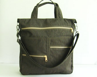 Sale - Chocolate Brown Water-Resistant Tote, messenger, crossbody, school bag, diaper bag, zipper pockets, purse - Melissa