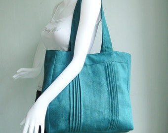Sale - Teal Hemp/Cotton Tote, carry all, hobo, shoulder bag, laptop, stylish, unique, purse - Simplicity