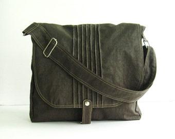 Sale - Chocolate Brown Water Resistant Nylon Bag - Messenger, Crossbody, Diaper bag,Tote, Handbag, School bag, Women, Unisex - TIFFANY