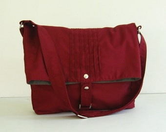 Sale - Maroon Cotton Twill Bag, purse, tote, shoulder bag, messenger, unique, stylish - Fiona