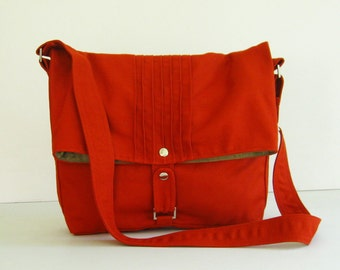 Sale  - Canvas Bag in Burnt Orange - Messenger / Diaper bag / Tote / Handbag / Shoulder bag / Women / Purse - FIONA