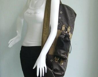 Sale - Yoga Bag - Chocolate/Khaki Water-Resistant Nylon - Unisex, messenger bag, gym bag, travel bag