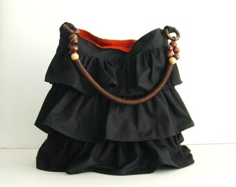 Sale - Black Cotton Mini Ruffle Bag with Beads Strap, tote, purse, unique, cute, stylish, fashionable