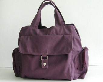 Sale 10% - Plum Canvas Bag - Shoulder bag, Diaper bag, Messenger bag, Tote, Travel bag, Women - PARIS