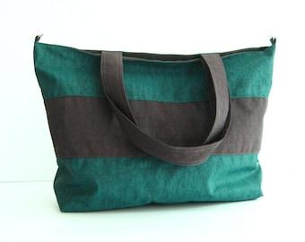 Sale - Water-Resistant Gym Bag in Dark Teal - diaper bag, laptop bag, beach bag - HAPPY TOTE