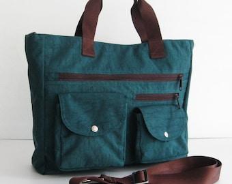 Sale - Water Resistant Nylon Bag in Dark Teal, messenger bag, handbag, laptop bag, zipper closure - CLAIRE