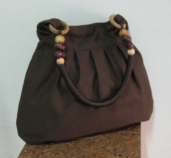 Choco Brown Canvas Bag with Rope Beads Strap