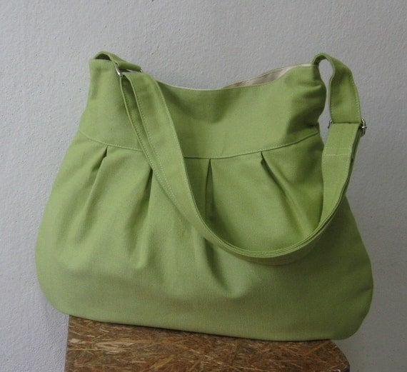 Pear Canvas All Purpose Pleated Bag with Unbleached Canvas Lining and Adjustable Strap