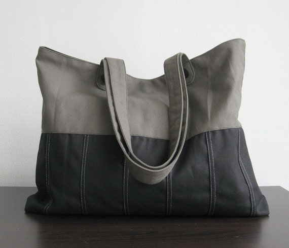 Black/Grey Canvas Tote - Pleated Bottom