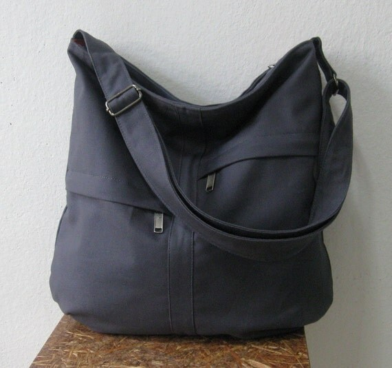 Sale - Zipper Closure Grey Cotton Twill Bag - 2 Front Pockets with Adjustable Strap