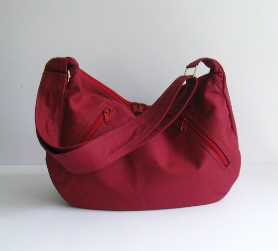 Sale - Maroon Canvas Bag, messenger, cross body, tote, purse, work, school, travel, zipper pockets - Sandra