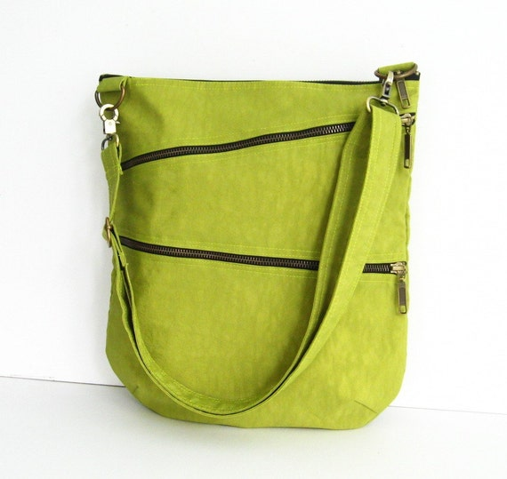 Sale - Water-Resistant Messenger Bag in Apple Green, tote, cross body bag, shoulder bag, purse - Enya