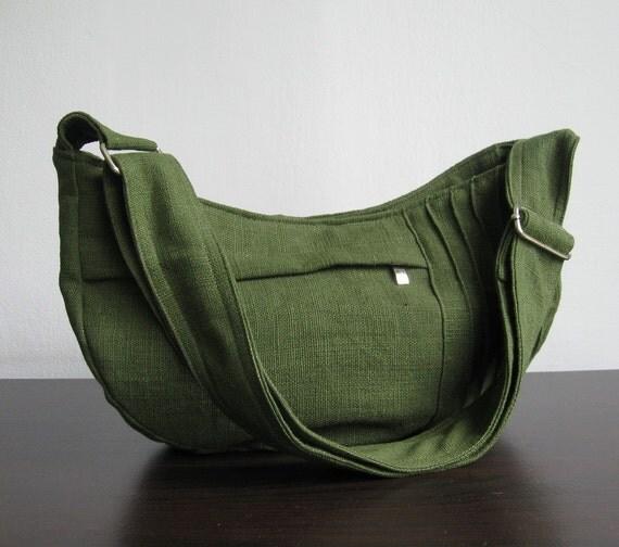Sale - Green Hemp/Cotton Bag - Shoulder bag, Diaper bag, Messenger bag, Tote, Travel bag, Women - SMILEY