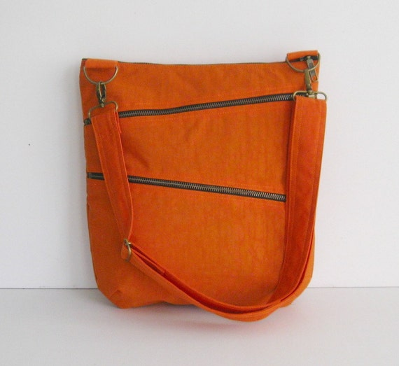 Sale - Orange Water Resistant Nylon Bag - Shoulder bag, Crossbody bag, Messenger bag, Tote, Travel Bag - ENYA
