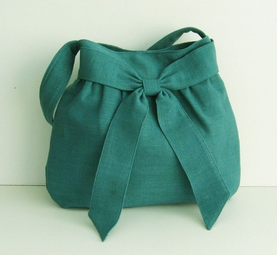 Sale - Teal Hemp/Cotton Bag, tote, purse, messenger, work, everyday bag, bow, hemp - AMY