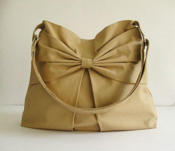 Sale - Khaki Canvas Crossbody Bag, purse, tote, habdbag, messenger bag, hobo, bow, cute, stylish  - Martha