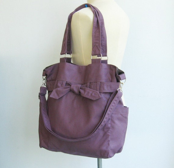 sale plum canvas purse tote shoulder bag diaper bag. Black Bedroom Furniture Sets. Home Design Ideas