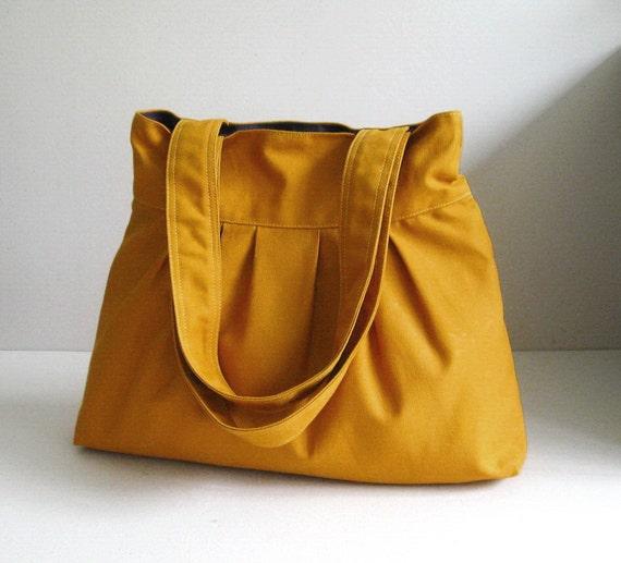 Sale - Mustard Canvas Bag - purse, tote, shoulder bag, diaper bag, double straps - APRIL