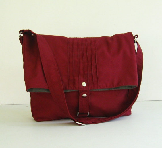 Reserve for antaresboyle - Maroon Cotton Twill Bag - Fiona