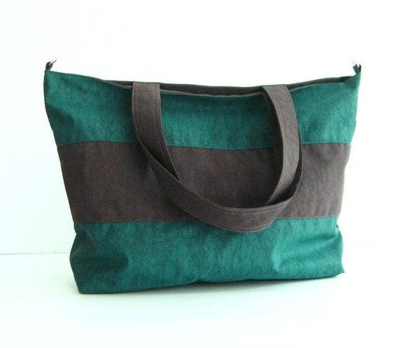 Sale - Water-Resistant Gym Bag in Dark Teal - diaper bag, travel bag, laptop bag, beach bag - HAPPY TOTE