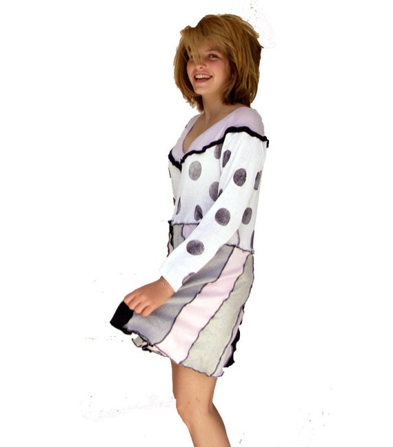 XOXO Couture - Cotton in Contrast - Upcycled Sweater Dress - Black and White Polka Dots