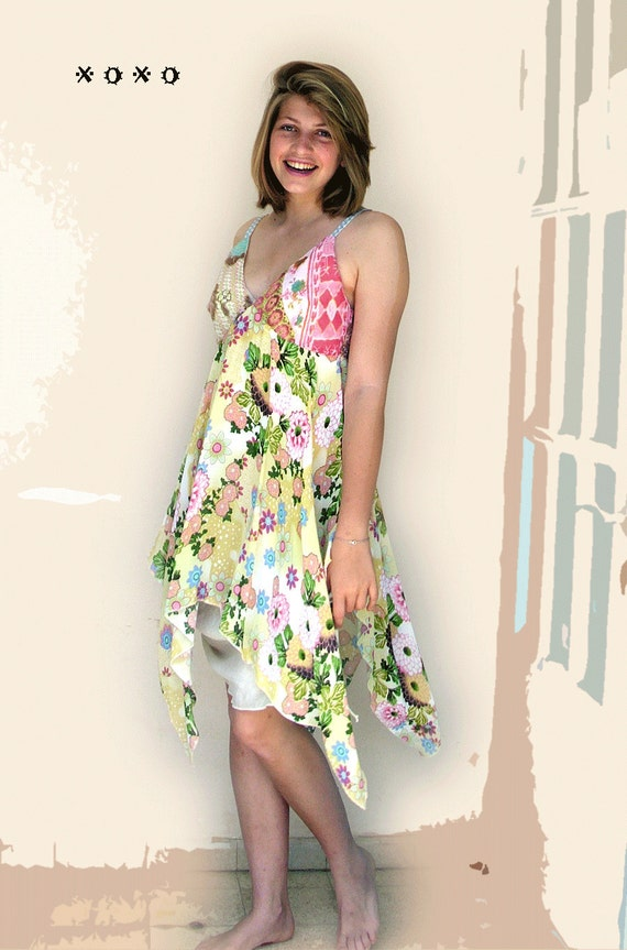 Butter Yellow  and Pink Voile  - Sundress- Combination Fabrics - Delicate Flower Print -  made by kathrin kneidl for resplendent rags