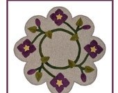 PDF pattern for a 16 inch wool table mat - penny rug: Clematis Vine