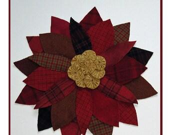 PDF pattern for a 16 inch wool and cotton yo-yo poinsettia