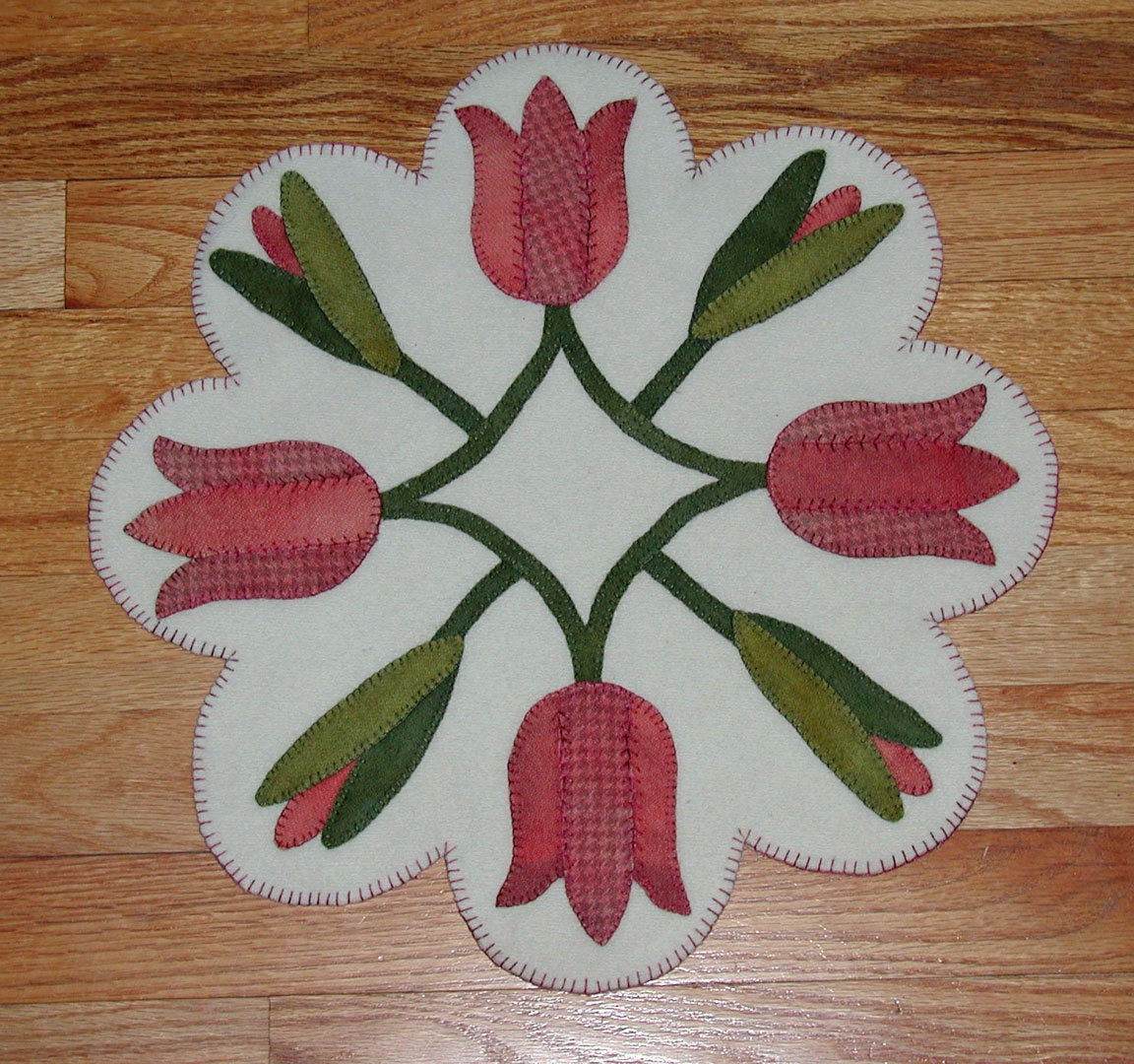 Spring Tulips Wool Applique Table Mat Penny Rug
