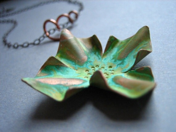 Patina Copper Growing Flower Necklace