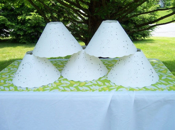 Cut and Pierced Paper Lampshades CUSTOM ORDER for 5 Scalloped Oil Lamp Lampshades Ultra White Paper with Floral Cut and Pierced Design...Now Residing in a shore home in New Jersey