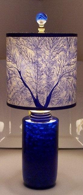 cut pierced fan coral shade w ooak vintage cobalt lamp. Black Bedroom Furniture Sets. Home Design Ideas