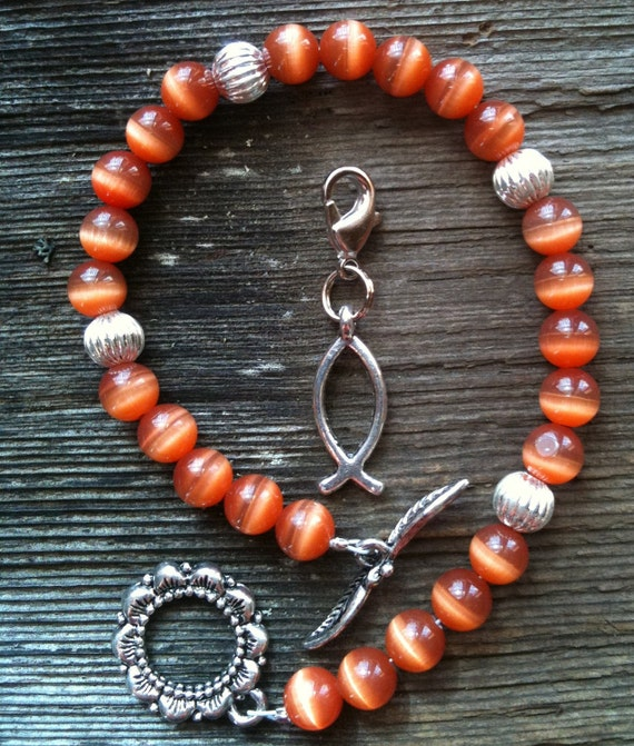 Calorie Tracker Bracelet for Weight Loss Points Bracelet Burnt Sienna Color Christian Fish Charm
