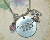 Theater Nerd Necklace - Theater Nerd Hand Stamped Sterling Silver Charm Necklace - Drama Jewelry - Drama Necklace