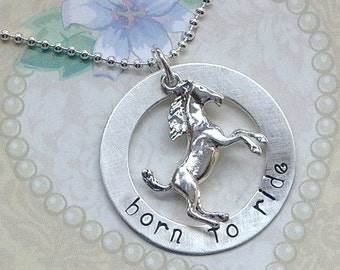 Personalized Horse Name Necklace - Personalized Horse Lover Necklace - Born to Ride Hand Stamped Sterling Silver Washer Necklace -